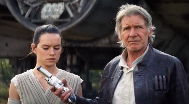 Rey (Daisy Ridley) e Han Solo (Harrison Ford)