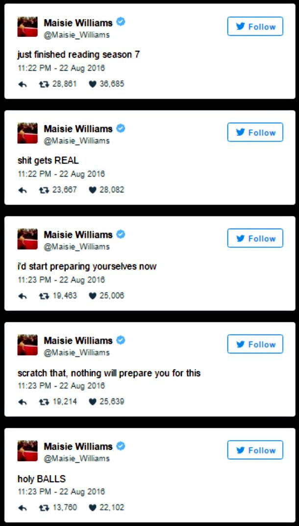 Game of Thrones Maisie Williams Sétima Temporada Arya Stark