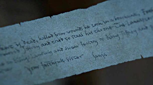 Arya pergaminho Game of Thrones setima temporada